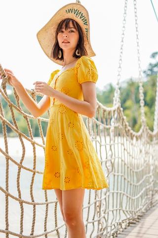 CHERIE SWEETHEART OFFSIE SLEEVE EYELET DRESS #MADEBYLOVET (MARIGOLD)
