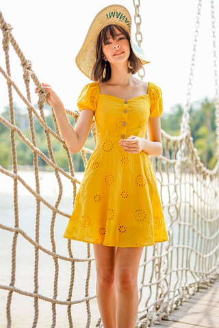CHERIE SWEETHEART OFFSIE SLEEVE EYELET DRESS #MADEBYLOVET (MARIGOLD)