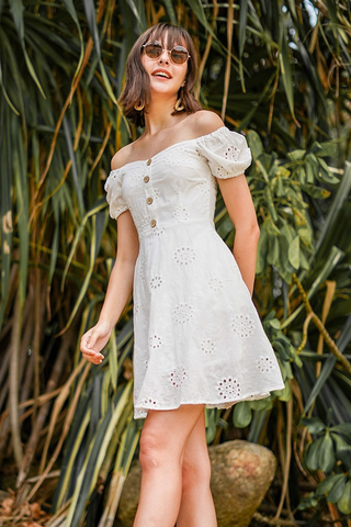 CHERIE SWEETHEART OFFSIE SLEEVE EYELET DRESS #MADEBYLOVET (WHITE) *RESTOCKED*