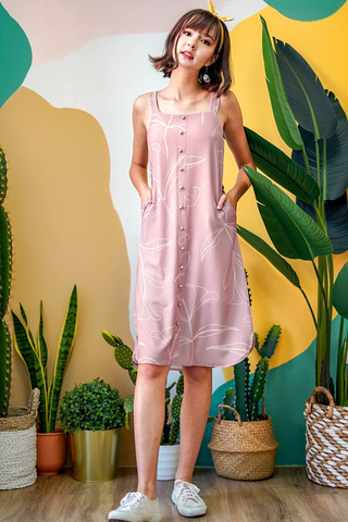 CORRINNE  FOLIAGE MIDI ABSTRACT DRESS WITH SASH #MADEBYLOVET (MAUVE PINK)