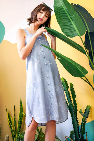 CORRINNE  FOLIAGE MIDI ABSTRACT DRESS WITH SASH #MADEBYLOVET (DUSTY BLUE)
