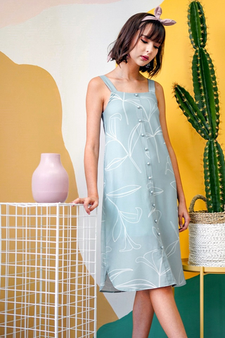 CORRINNE  FOLIAGE MIDI ABSTRACT DRESS WITH SASH #MADEBYLOVET (SEAFOAM) *BACKORDER*