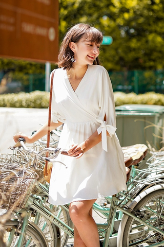 DELILAH KIMONO RIBBON SLEEVE DRESS #MADEBYLOVET (WHITE)