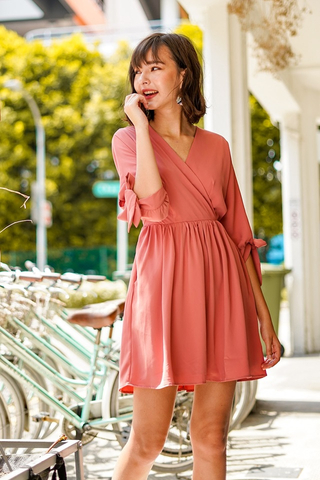 DELILAH KIMONO RIBBON SLEEVE DRESS #MADEBYLOVET (TERRACOTTA)