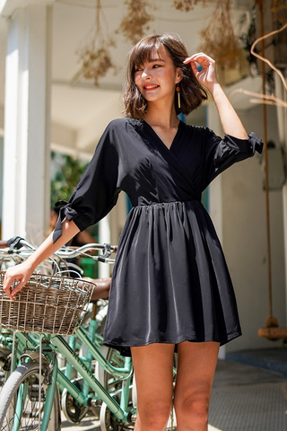 DELILAH KIMONO RIBBON SLEEVE DRESS #MADEBYLOVET (BLACK)
