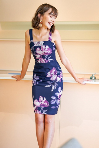EUGENIA FLORAL PENCIL SLIT DRESS #MADEBYLOVET (NAVY)