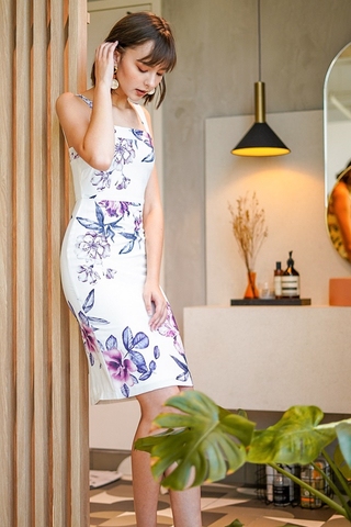 EUGENIA FLORAL PENCIL SLIT DRESS #MADEBYLOVET (WHITE)