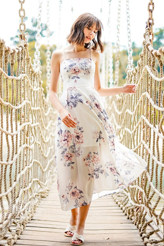 ROWENA FLORAL CRISS-CROSS LACE-UP MAXI DRESS #MADEBYLOVET (WHITE)