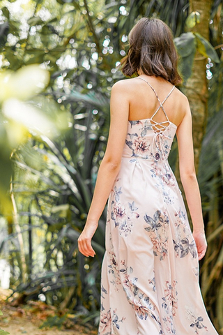 ROWENA FLORAL CRISS-CROSS LACE-UP MAXI DRESS #MADEBYLOVET (BLUSH)