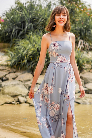 ROWENA FLORAL CRISS-CROSS LACE-UP MAXI DRESS #MADEBYLOVET (DUSTY BLUE)