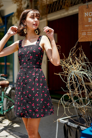 I CHERRY YOU BUTTON DRESS #MADEBYLOVET (BLACK) *RESTOCKED*