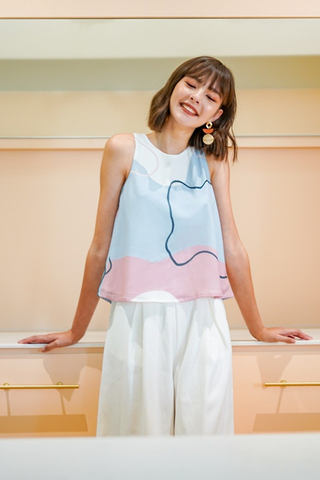 IVY ABSTRACT SWING TOP #MADEBYLOVET (BLUE/PINK)