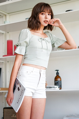 JEANNET PUFF SLEEVE CROPPED TOP #MADEBYLOVET (MINT)