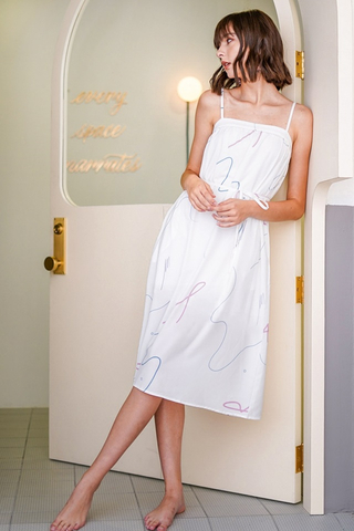 LINDSEY ABSTRACT DOODLE MIDI DRESS #MADEBYLOVET (WHITE)