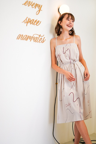 LINDSEY ABSTRACT DOODLE MIDI DRESS #MADEBYLOVET (TAUPE)