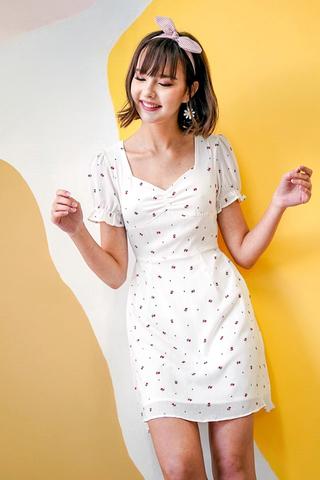 LUNA TULIP FLORAL PRINTED DRESS #MADEBYLOVET (WHITE)