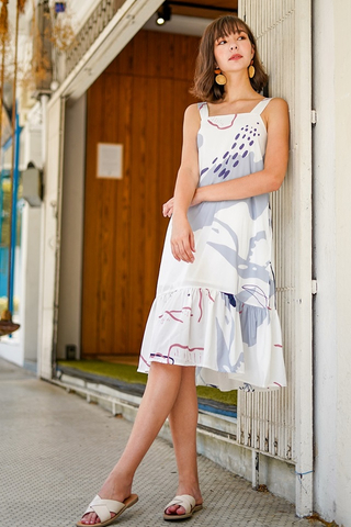 MORGAN ABSTRACT MIDI DROPWAIST DRESS #MADEBYLOVET (BLUE)