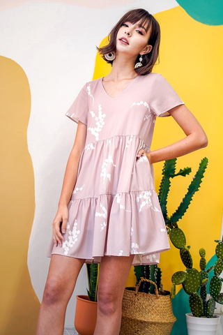 RACHELLE FOLIAGE BABYDOLL TIERED DRESS #MADEBYLOVET (LIGHT BLUSH)