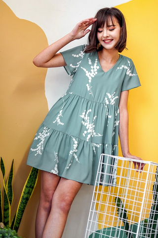 RACHELLE FOLIAGE BABYDOLL TIERED DRESS #MADEBYLOVET (COAST TEAL)