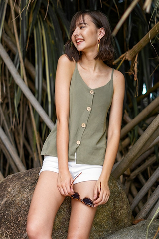 RAINIE BUTTON CAMI TOP #MADEBYLOVET (OLIVE)