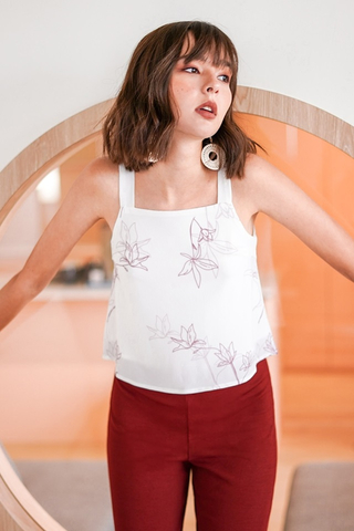 SIMONNE ABSTRACT FLORAL TOP #MADEBYLOVET (WHITE)