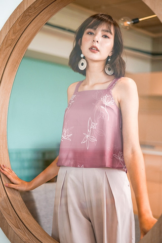 SIMONNE ABSTRACT FLORAL TOP #MADEBYLOVET (MAUVE PINK) *BACKORDER*