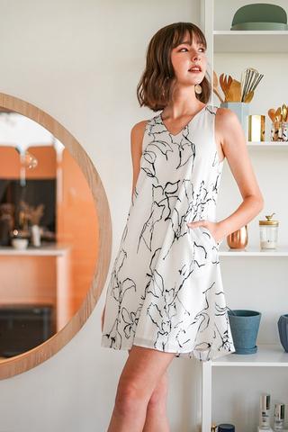 STELLA ABSTRACT V-NECK SHIFT DRESS WITH SASH #MADEBYLOVET (WHITE)