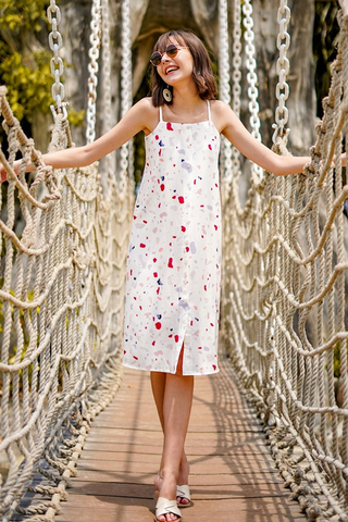 TRIXIE TERRAZZO MIDI DRESS #MADEBYLOVET (OFF-WHITE)