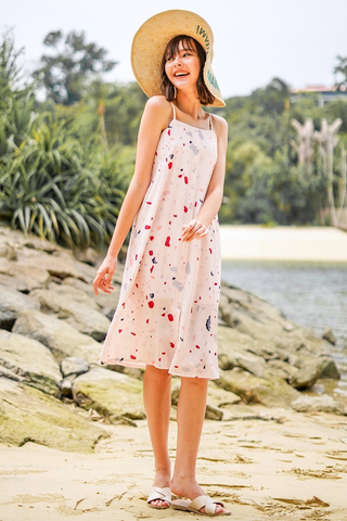 TRIXIE TERRAZZO MIDI DRESS #MADEBYLOVET (BLUSH)