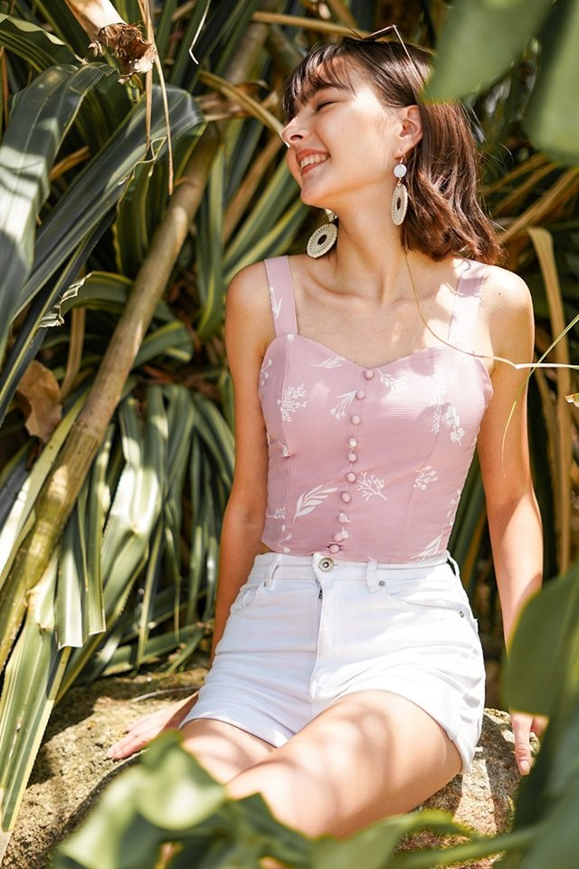 JULYNN BOTANICAL BUTTON SWEETHEART CROP TOP #MADEBYLOVET (DUSTY PINK)