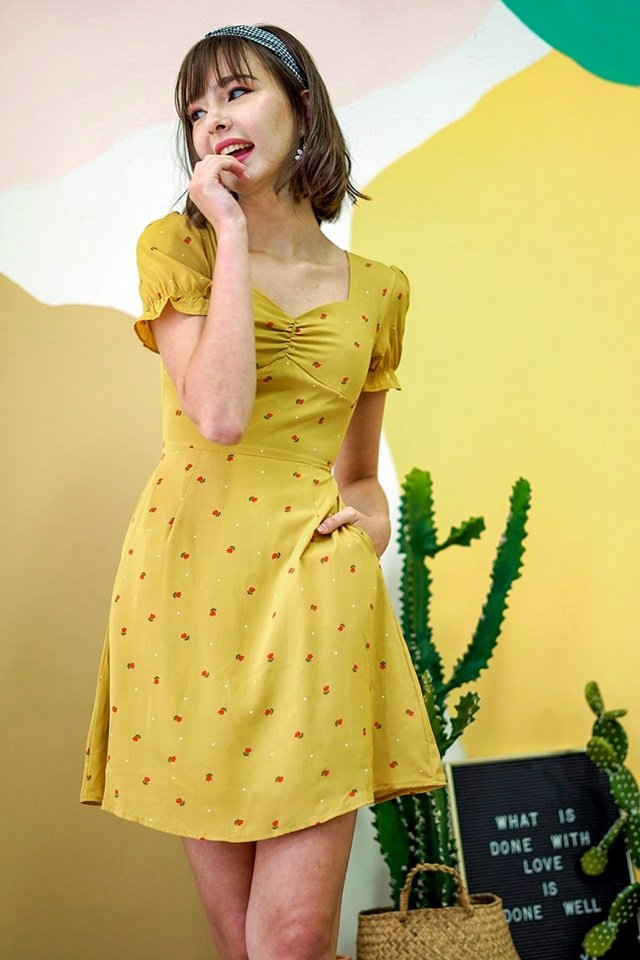 LUNA TULIP FLORAL PRINTED DRESS #MADEBYLOVET (CORN YELLOW)