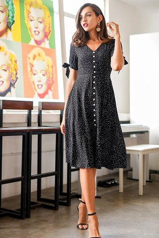 MINDY DOTTED BUTTON RIBBON MIDI DRESS #MADEBYLOVET (BLACK)