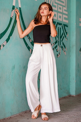 PALAZZO WIDE LEG HIGH WAIST PANTS #MADEBYLOVET (WHITE) *RESTOCKED*