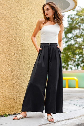 PALAZZO WIDE LEG HIGH WAIST PANTS #MADEBYLOVET (BLACK)