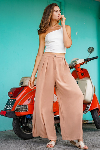 PALAZZO WIDE LEG HIGH WAIST PANTS #MADEBYLOVET (CAMEL BROWN) *BACKORDER*