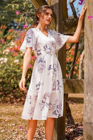 TALLEAH FLORAL KIMONO WRAP MIDI DRESS WITH SASH #MADEBYLOVET (WHITE)