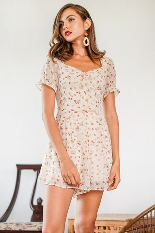 BEVERLY FLORAL SWEETHEART RUCHED ROMPER #MADEBYLOVET (CREAM)