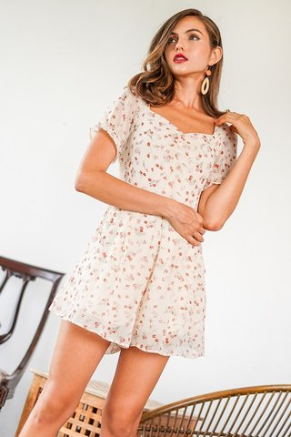 BEVERLY FLORAL SWEETHEART RUNCHED ROMPER #MADEBYLOVET (CREAM)
