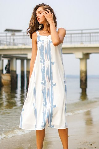 BRIDGET BRUSHSTROKE ABSTRACT BUTTON MIDI DRESS #MADEBYLOVET (WHITE)