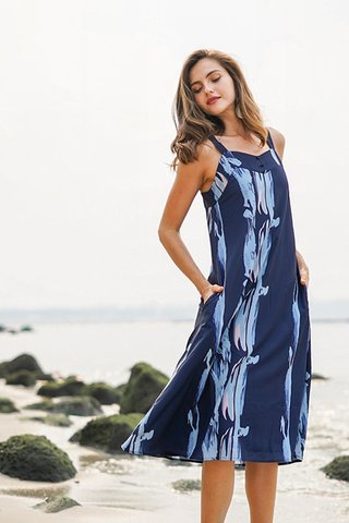 BRIDGET BRUSHSTROKE ABSTRACT BUTTON MIDI DRESS #MADEBYLOVET (NAVY)