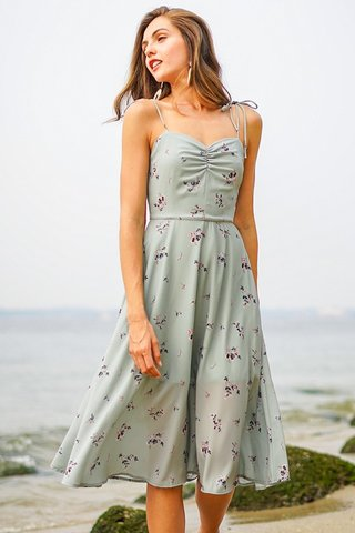 CASSIE FLORAL TIE-STRING RUNCHED MIDI DRESS #MADEBYLOVET (JADE GREEN)