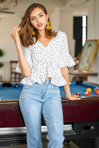 HEIDI POLKA DOT SCRUNCHED BELL SLEEVE TOP #MADEBYLOVET (WHITE)