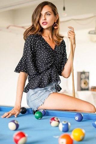 HEIDI POLKA DOT SCRUNCHED BELL SLEEVE TOP #MADEBYLOVET (BLACK)