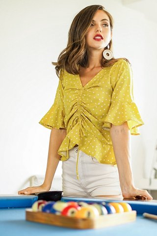 HEIDI POLKA DOT SCRUNCHED BELL SLEEVE TOP #MADEBYLOVET (LIME YELLOW)