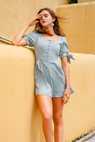 KAMIE BUTTON RIBBON SLEEVE ROMPER #MADEBYLOVET (SEAFOAM)