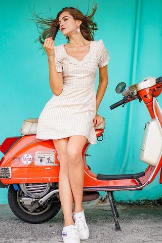 LEONA GINGHAM RIBBON DRESS #MADEBYLOVET (DAFFODIL) *RESTOCKED*