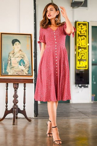 MINDY DOTTED BUTTON RIBBON MIDI DRESS #MADEBYLOVET (RASPBERRY RED)