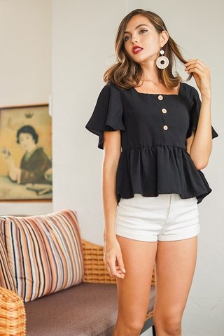 ROBIN BUTTON SQUARE NECK PEPLUM LINEN TOP #MADEBYLOVET (BLACK)