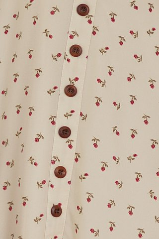 CARRIE ROSE FLORAL BUTTON DRESS #MADEBYLOVET (CREAM)
