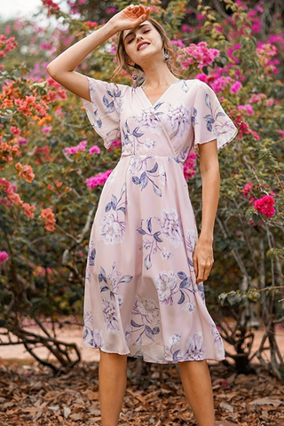 TALLEAH FLORAL KIMONO WRAP MIDI DRESS WITH SASH #MADEBYLOVET (BLUSH)